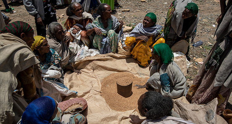 Kvinnor i området Tigray i Etiopien sitter framför en skål med vete.