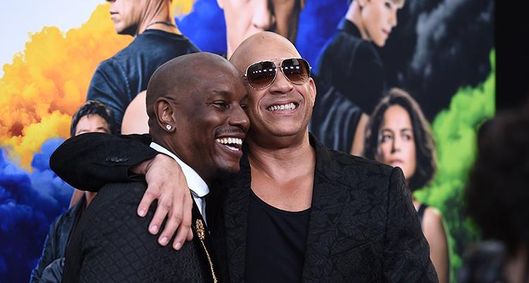 Skådespelarna Tyrese Gibson och Vin Diesel på en premiär av filmen.