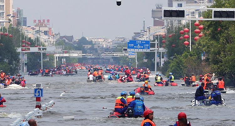 Bild på översvämningen i Kina.