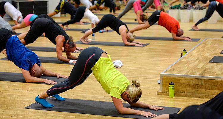 En grupp människor i en sal. De tränar yoga. De står på tårna och på underarmarna.