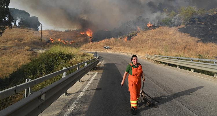 Hon har arbetsbyxor i orange och går på en asfalterad väg i riktning mot kameran. De brinner i det torra gräset på kullarna i bakgrunden. Tjock rök syns på himlen.