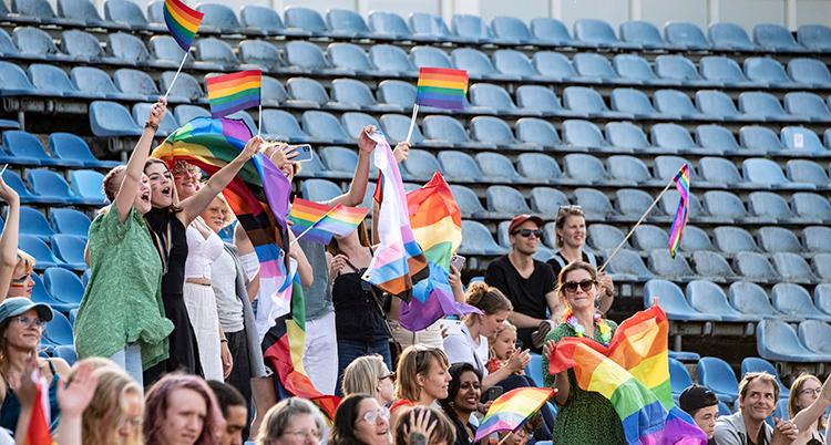Personer på läktaren som viftar med prideflaggor.