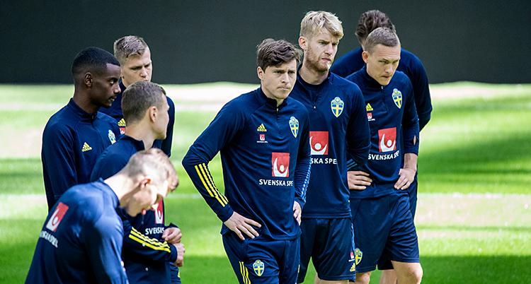 Från en träning med landslaget i fotboll. De står på en fotbollsplan. De har blå dräkter på sig.