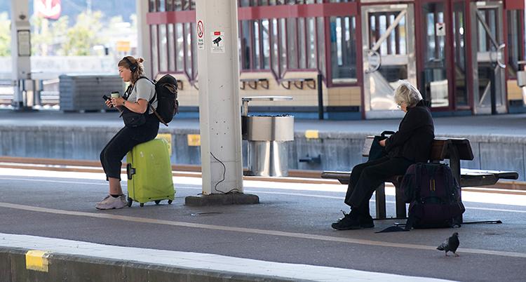 Två personer sitter och väntar på ett tåg. De har resväskor.