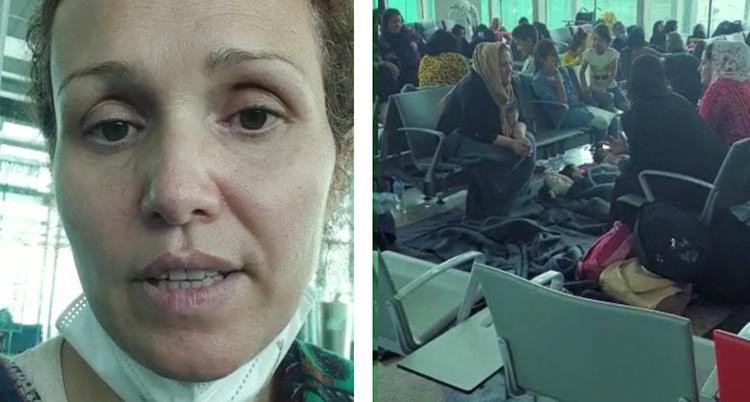 En närbild på en kvinna. Hon ser rädd ut och tittar in i kameran.