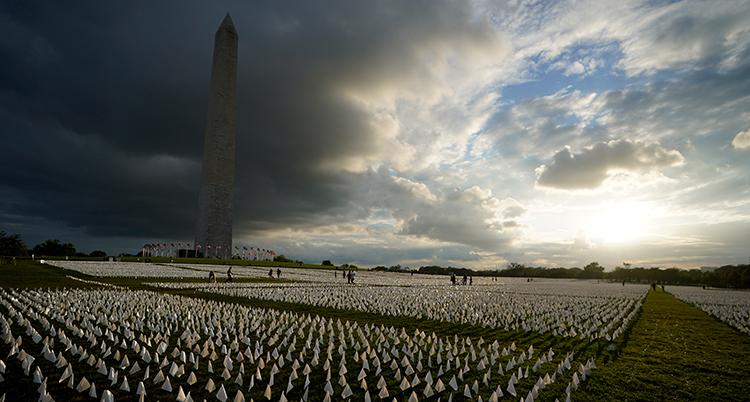 Massor av vita flaggor syns på marken. Varje lapp ska symbolisera en människa.