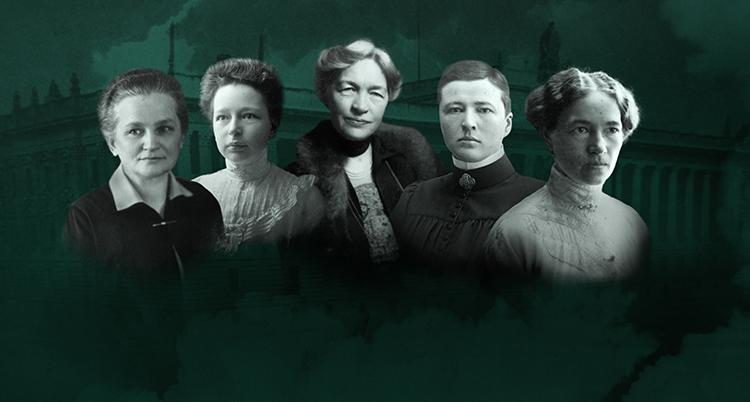 Svartvita porträtt på fem kvinnor ligger intill varandra. Bakgrunden är grön