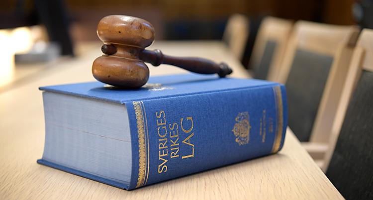 En bok med lagar och en klubba av trä.