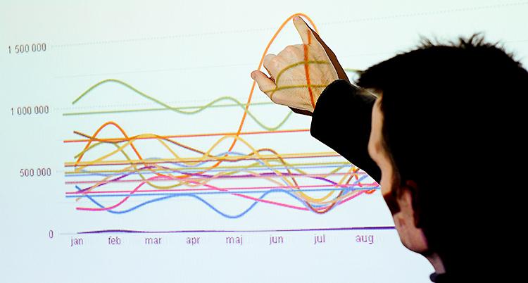 En man står vid en skärm och pekar på olika kurvor. Kurvorna visar olika siffror.