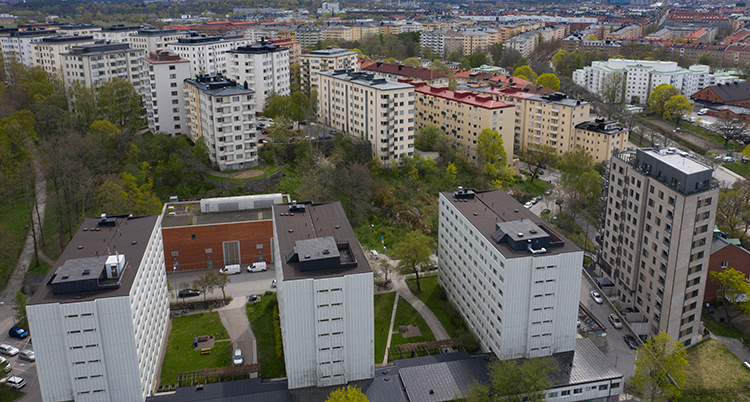 En fygbild över ett bostadsområde.