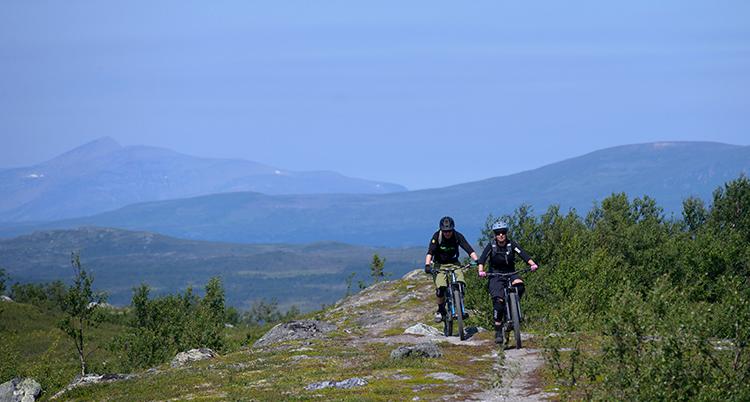 Två cyklister på en stig i fjällen, med fjäll i bakgrunden