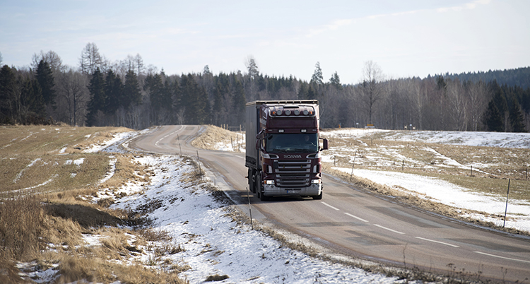 En lastbil kör på en asfalterad väg, på sidorna är det torkat gräs och lite snö