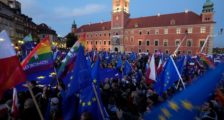 eu-flaggor och massor av människor som protesterar.