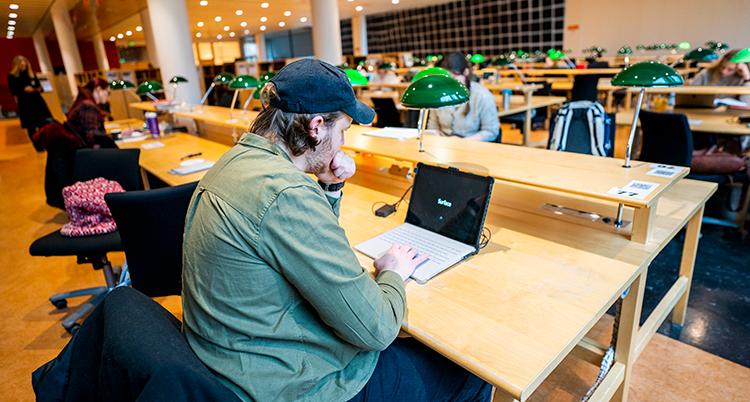 En man sitter vid en bärbar dator.